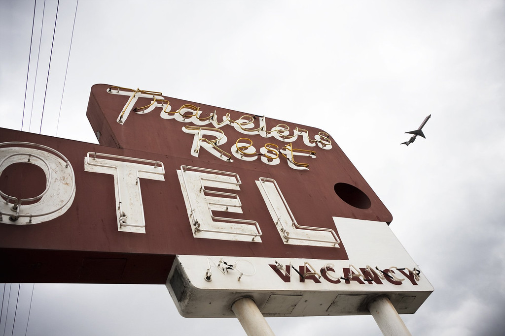 . The neon sign in front of Travelers Rest Motel in San Jose, as captured by photographer Joshua Marcotte who has a passion for capturing images of objects from days gone by.