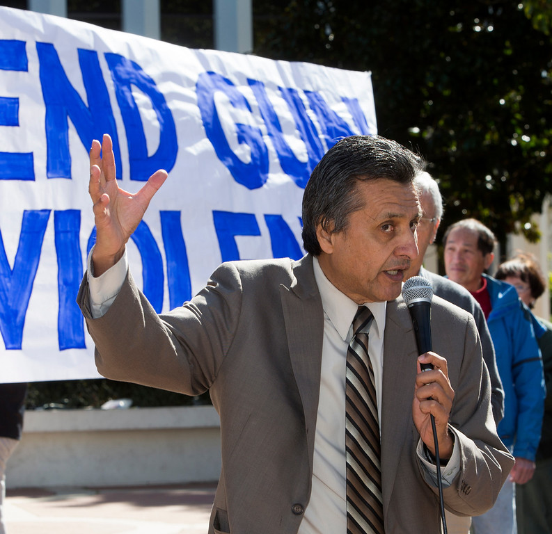 . East Palo Alto Mayor Ruben Abrica speaks at the Silicon Valley Community Against Gun Violence  rally in front of Palo Alto City Hall on Saturday, Feb. 23, 2013. To coincide with the rally a gun buyback was held by the cities of Palo Alto, Menlo Park and East Palo Alto  with the help of the non-profit Protect Our Children, which provided the money for the buyback. (John Green/Staff)