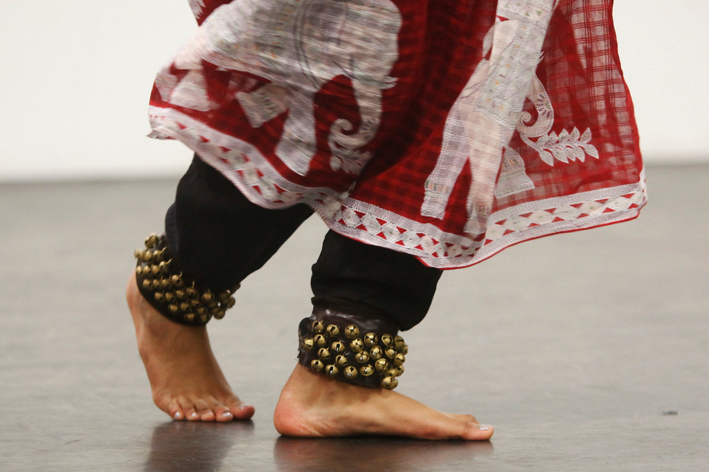 . A dancer wears bells on her ankles during a classical Indian dance rehearsal at the Starting Arts dance studio in Santa Clara on Wednesday, April 3, 2013. The Vishwa Shanthi Dance Academy is scheduled to perform this dance and others at �Padme: Lotus in Asian Mythology�  4 p.m. till 7 p.m on Sunday, April 7, 2013, at Cubberley Theatre in Palo Alto. For more information, visit www.shreelatasuresh.com.   (Kirstina Sangsahachart/ Daily News)