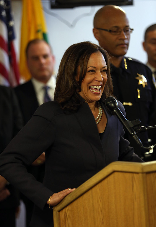 . State Attorney General Kamala Harris speaks during a press conference at the Oakland Emergency Operations Center in Oakland, Calif., on Friday, March 8, 2013.  Harris is an Oakland native. (Jane Tyska/Staff)