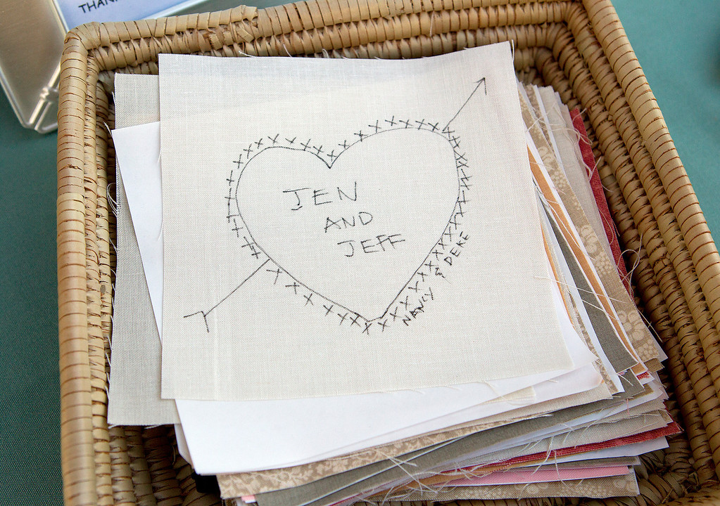 . A quilt block signed by guests of Jeffrey and Jeniffer Lang\'s wedding, for the couple\'s guest quilt, in San Jose, Calif. on Saturday, July 27, 2013.  (LiPo Ching /Bay Area News Group)