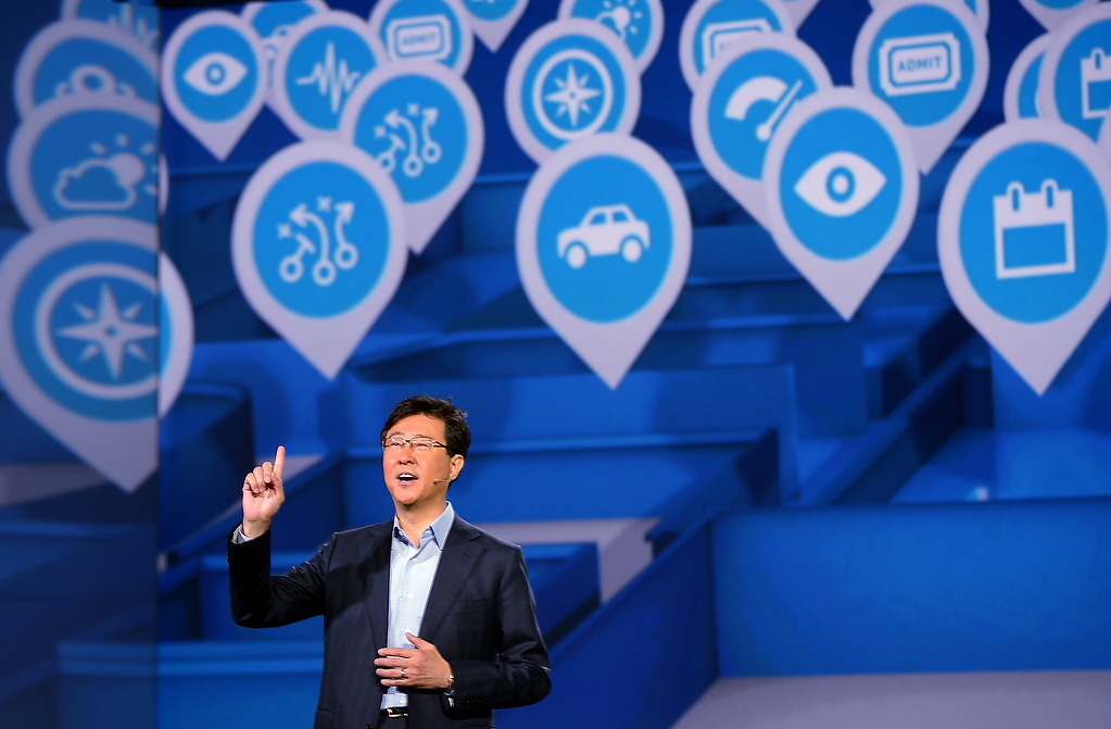 . Dr Stephen Woo, president of Samsung\'s Electronic Device Solutions, speaks during Samsung\'s press conference at the 2013 International CES at the Las Vegas Convention Center on January 9, 2013 in Las Vegas, Nevada. (JOE KLAMAR/AFP/Getty Images)