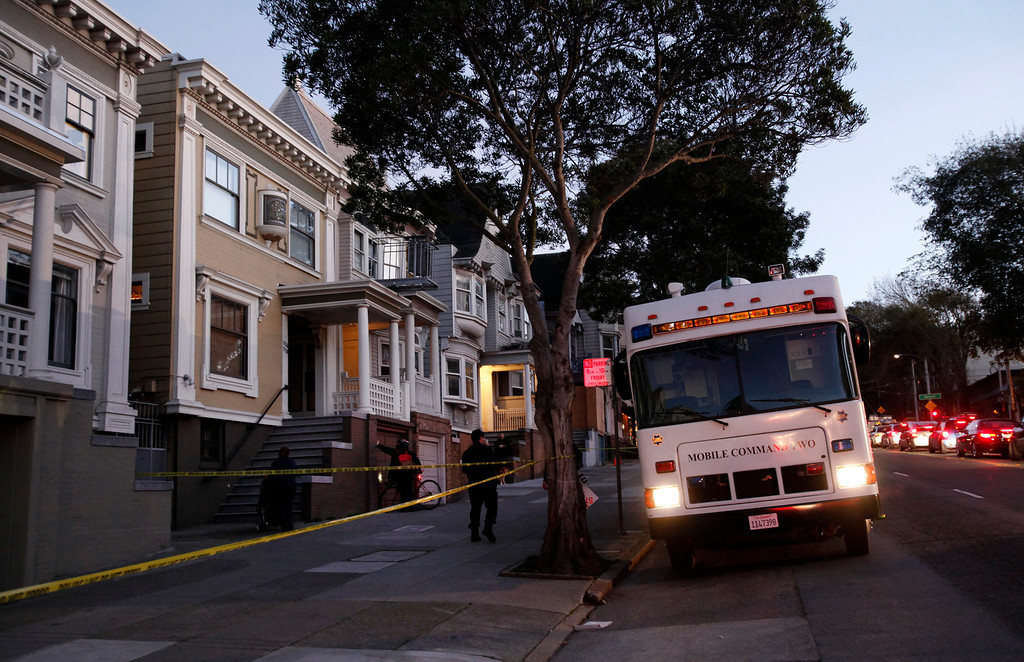 . San Francisco Police parked a mobile command vehicle in front of a home on the 1100 block of Masonic Avenue Tuesday Jan. 29, 2013 in San Francisco, reportedly looking for evidence in the disappearance of 10-year-old Kevin Collins 29 years ago.  (Karl Mondon/Staff)