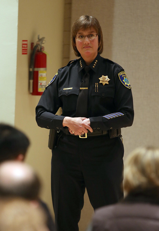 . Piedmont Police Chief Rikki Goede listens to a speaker during a town hall meeting at the Piedmont Veterans Hall in Piedmont, Calif., on Tuesday, Feb. 12, 2013. (Jane Tyska/Staff)