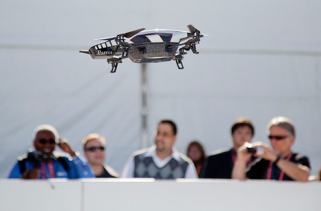 . A Parrot AR Drone 2.0 is seen flying during a demonstration at the Consumer Electronics Show, Wednesday, Jan. 9, 2013, in Las Vegas. The drone has a built in camera and can be controlled with a smart phone. (AP Photo/Julie Jacobson)