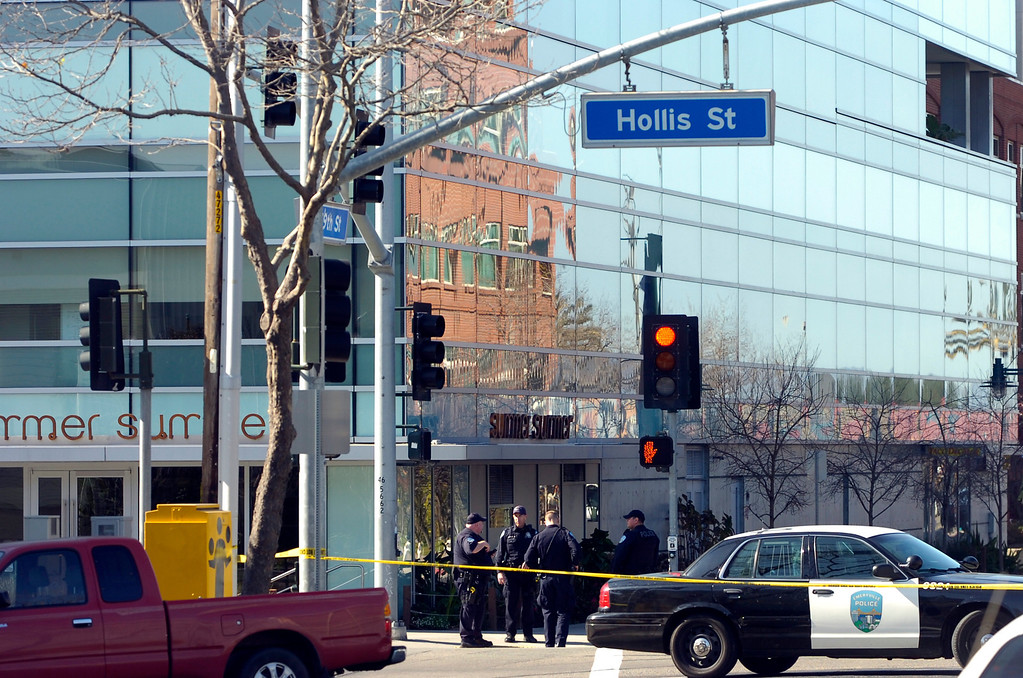 . A building at 5885 Hollis St. is surrounded by police tape after it received a bomb threat in Emeryville, Calif. on Wednesday, Feb. 6, 2013. Two floors of the  building house facilities for Lawrence Berkeley National Laboratory. (Kristopher Skinner/Staff)