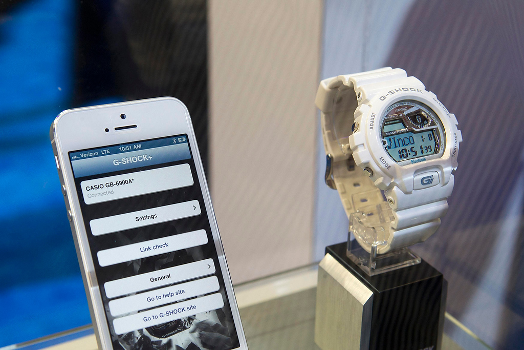 . A Casio G-Shock Bluetooth watch is displayed during the first day of the Consumer Electronics Show (CES) in Las Vegas January 8, 2013. The $180.00 watch synchs with phones that have Bluetooth 4.0 or above, presently iPhone 4s and 5, and can alert the wearer to incoming emails, text messages and phone calls. It also has a phone find feature and a walk-away warning if the phone and the watch are separated a a certain distance. (REUTERS/Steve Marcus)