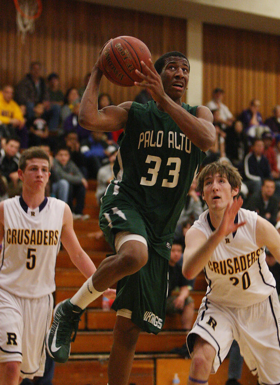 . Paly\'s Aubrey Dawkins breaks toward the basket in the second quarter at Piedmont Hills High School in San Jose, Calif. on Friday, Feb. 22, 2013.The Archbishop Riordan Crusaders played the Palo Alto Vikings in the CCS Open Division boys basketball quarterfinals. (Jim Gensheimer/Staff)