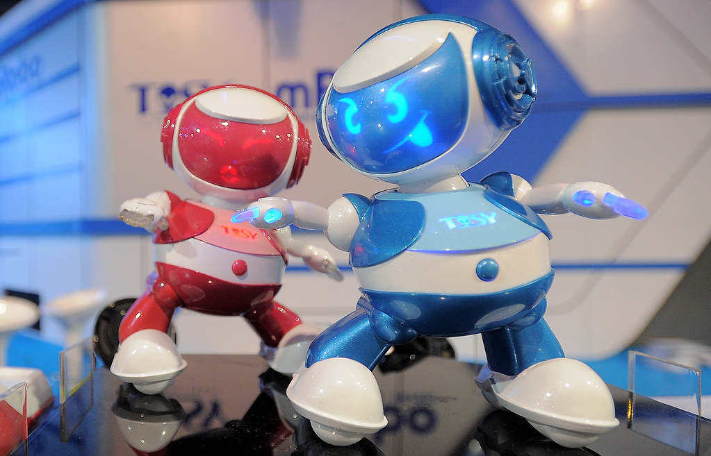 . Vietnam\'s Tosy Disco Robots are displayed  at the 2013 International CES at the Las Vegas Convention Center on January 9, 2013 in Las Vegas, Nevada. (JOE KLAMAR/AFP/Getty Images)