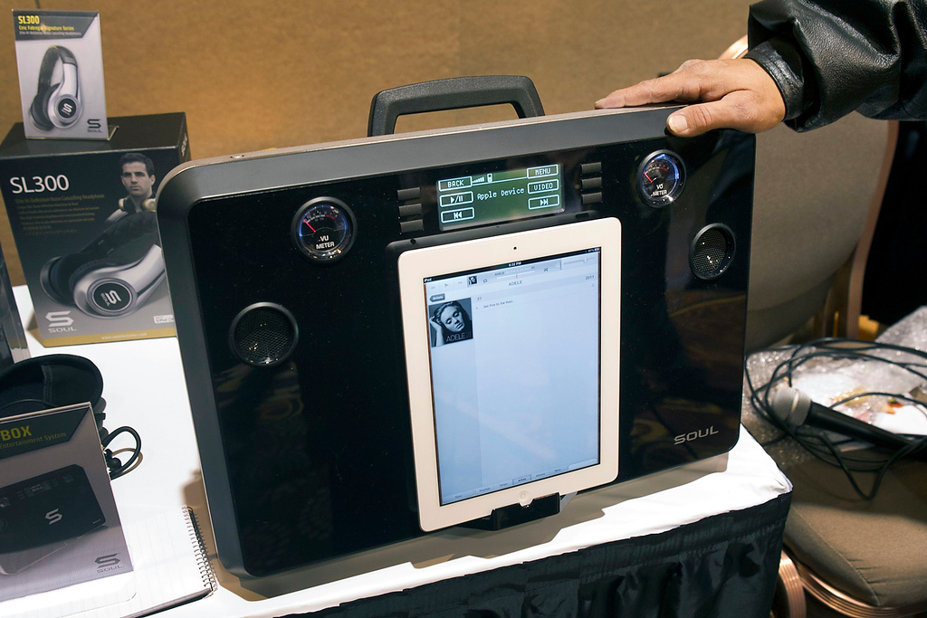 . A Soul Party In A Box is displayed at the opening press event of the Consumer Electronics Show (CES) in Las Vegas January 6, 2013. The wireless high performance entertainment system is available now and retails for $999.00. The device has multiple inputs including microphone inputs for karaoke. (REUTERS/Steve Marcus)