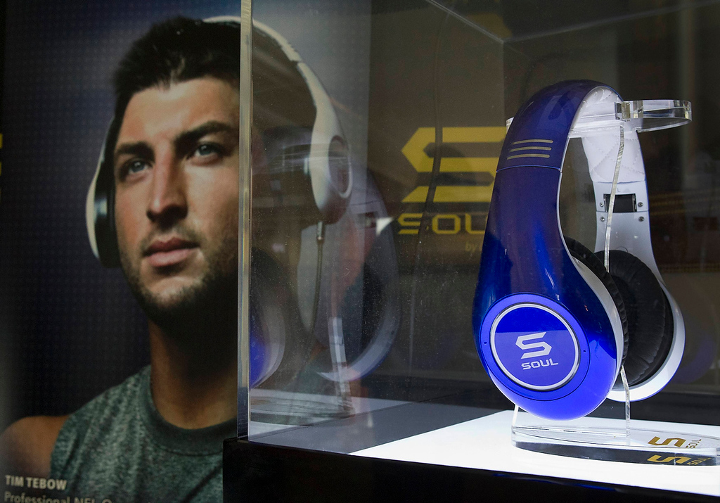 . Tim Tebow Signature Series headphones by Soul Electronics are displayed during the Consumer Electronics Show (CES) in Las Vegas January 10, 2013. (REUTERS/Steve Marcus)