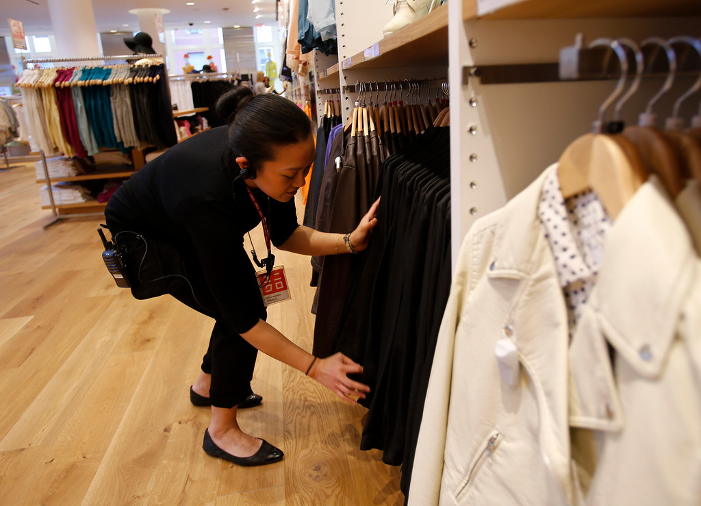 . Cassie Locsin, store manager for the Women\'s clothing floor, on the upper floor, at Uniqlo clothing store, on Powell St. in downtown San Francisco, Calif. on Thursday, Jan. 17, 2013.  They opened their store in San Francisco in October 2012.  (Nhat V. Meyer/Staff)