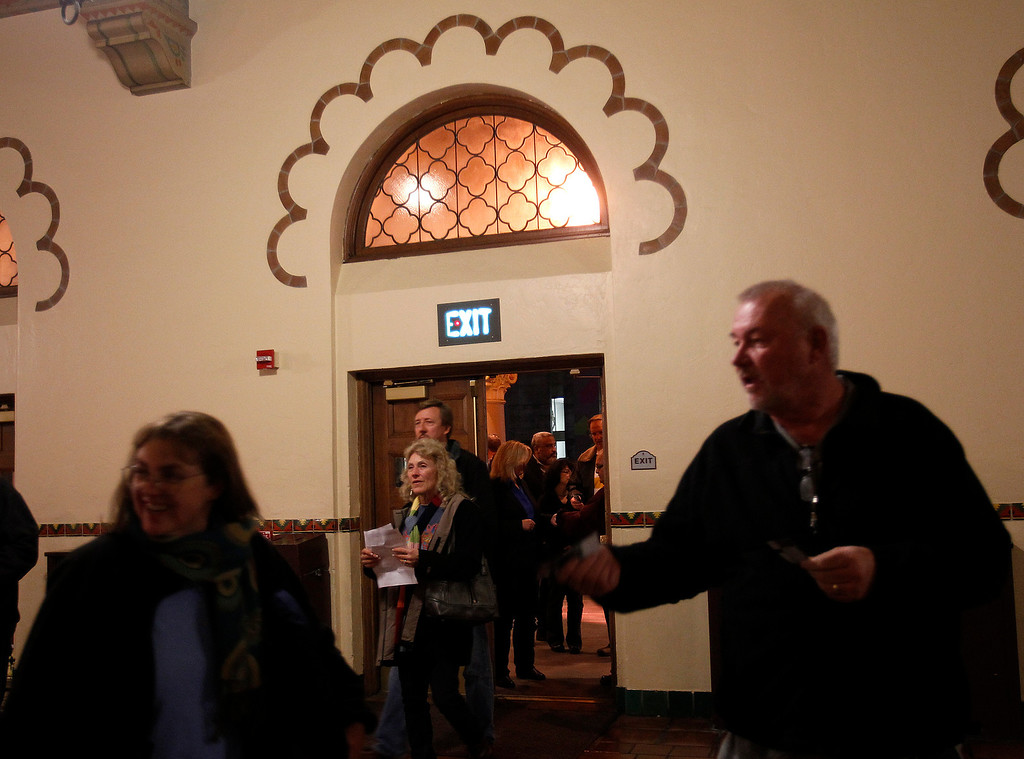 . Concert goers enter the main lobby of the San Jose Civic before Jackson Browne performed in downtown San Jose, Calif. on Tuesday, Jan. 22, 2013.  (Nhat V. Meyer/Staff)