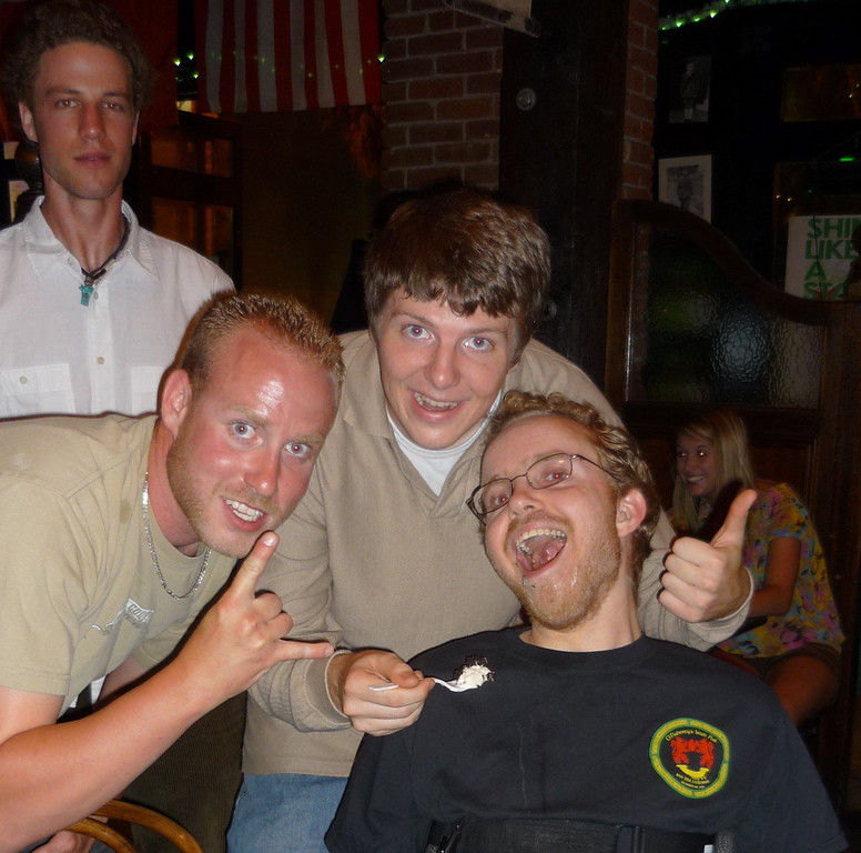. Phillip Bennett, a Fremont man who died in 2011 of a degenerative muscle disease, jokes around with friends. (Photo courtesy of Valerie Bennett)