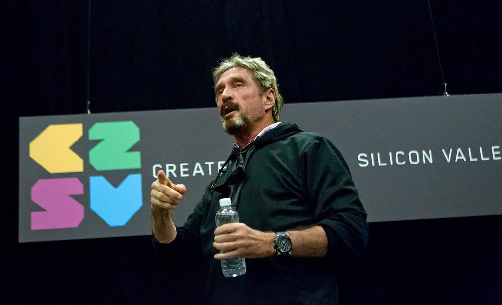 ". John McAfee speaks at the ""Fireside Chat with John McAfee\"" talk during the C2SV Technology Conference + Music Festival at the McEnery Convention Center in San Jose, Calif., on Saturday, Sept. 28, 2013.   (LiPo Ching/Bay Area News Group)"