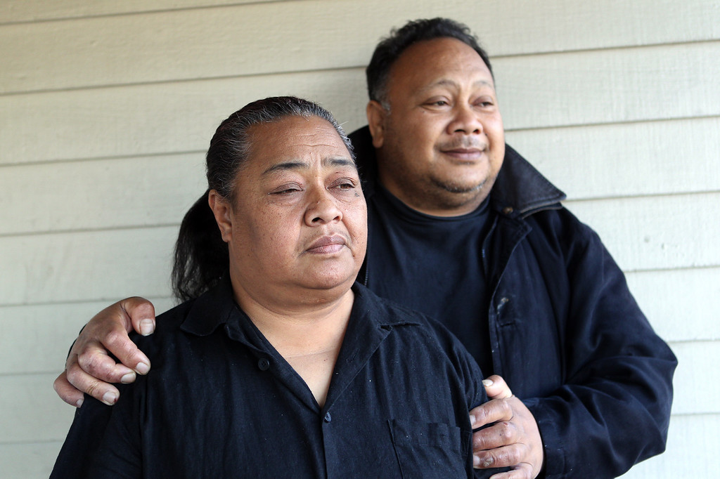 . Finau and Suli Fisiiahi, from left, parents of Rachel Fisiiahi, 19, are photographed in Oakland, Calif., on Wednesday, Feb. 13, 2013. Rachel Fisiiahi was one of four related teens who died the afternoon of Feb. 11 after the SUV they were traveling in smashed into the center divider on Highway 58 east of Mojave, Calif. (Anda Chu/Staff)