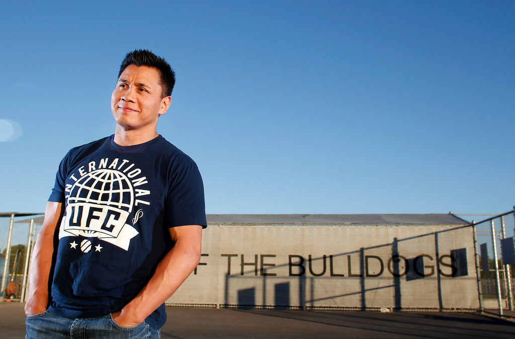 . Portrait of mixed martial artist Ultimate Fighting Championship and actor Cung Le, 41, an immigrant from Vietnam and member of Class of 1990 at San Jose High School athletic grounds in San Jose, Calif. on Thursday, May 30, 2013. (Josie Lepe/Bay Area News Group)