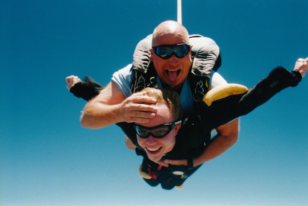 . Phillip Bennett, a Fremont man who died in 2011 of a degenerative muscle disease, goes sky-diving with a friend. (Photo courtesy of Valerie Bennett)