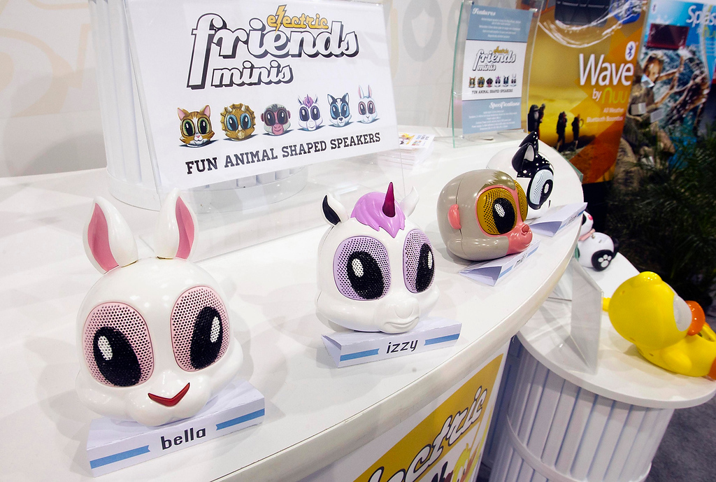 . Electric Friend Minis are displayed at the Noetic booth during the first day of the Consumer Electronics Show (CES) in Las Vegas January 8, 2013. The animal-shaped speakers with retractable cords are expected to be in stores this spring. (REUTERS/Steve Marcus)