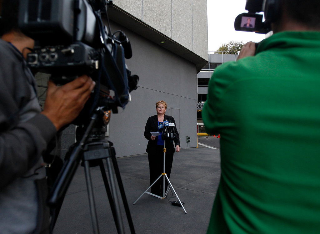 . Grace Crunican, general manager of BART, speaks to the media outside of their offices in downtown Oakland, Calif. on Sunday, Aug. 11, 2013.  (Nhat V. Meyer/Bay Area News Group)