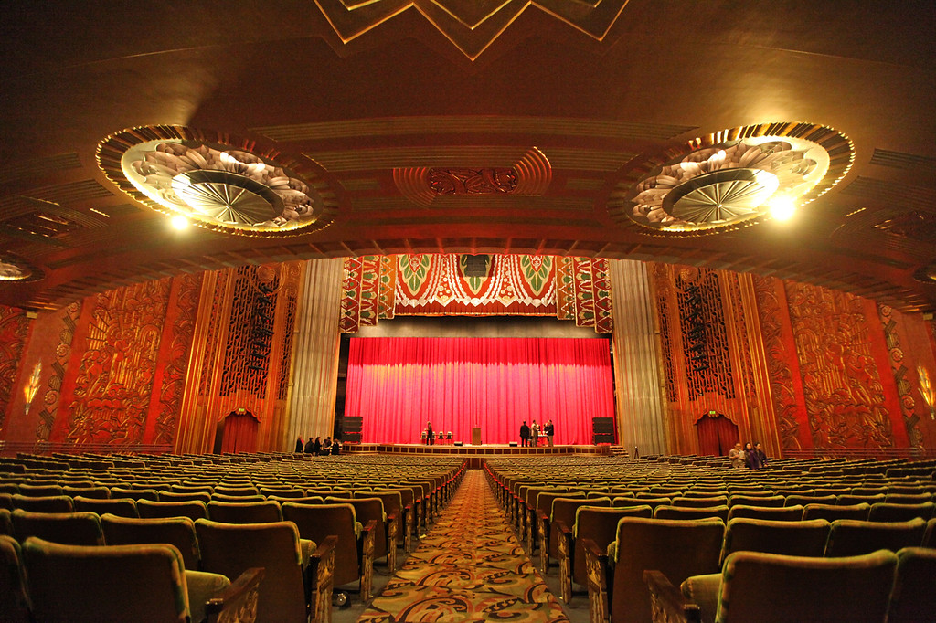 . More than 3,000 seats fill the interior Paramount Theatre in Oakland. The Art Deco Society of California will hold an Art Deco Preservation Ball on Saturday, April 27, 2013, to celebrate the 40-year anniversary of the theater\'s renovation. (Laura A. Oda/Bay Area News Group)