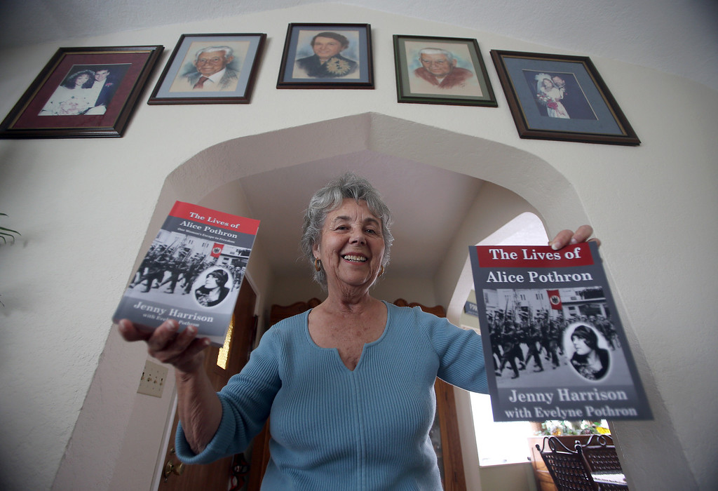 . Evelyne Pothron is photographed with a book about her family at her home in Alameda, Calif., on Thursday, Jan. 24, 2013. New Zealand author Jenny Harrison helped Pothron tell her family\'s story about life in France just before the Nazi occupation in a recent book. (Jane Tyska/Staff)