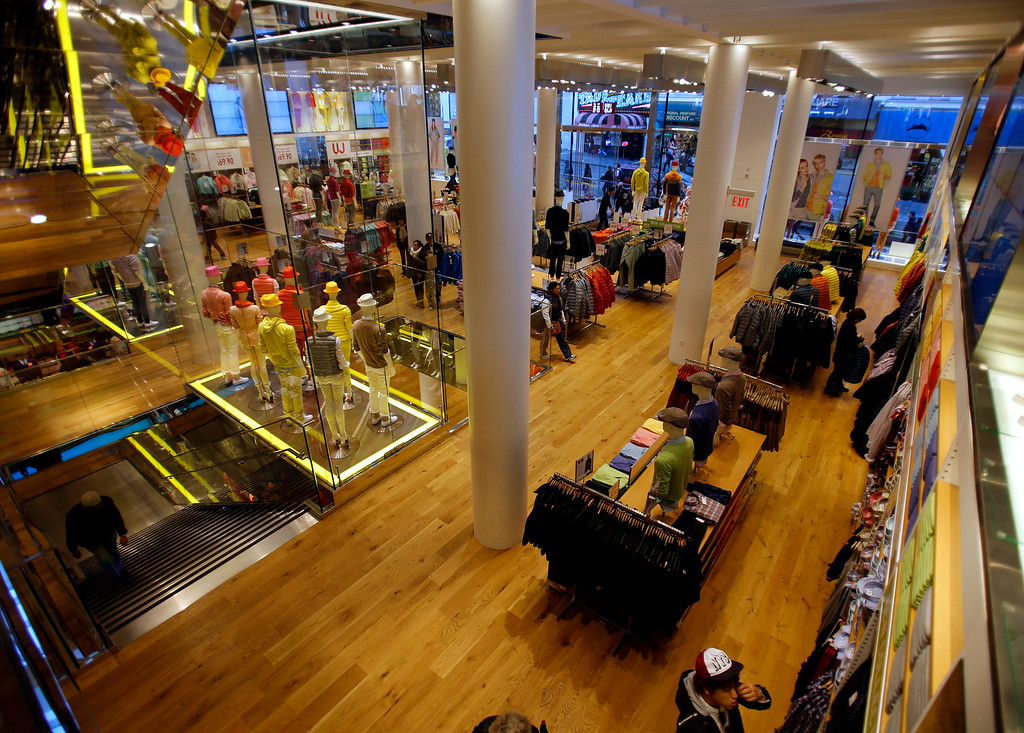 . The view of the main floor from the mezzanine level at Uniqlo clothing store on Powell St. in downtown San Francisco, Calif. on Thursday, Jan. 17, 2013.  They opened their store in San Francisco in October 2012.  (Nhat V. Meyer/Staff)