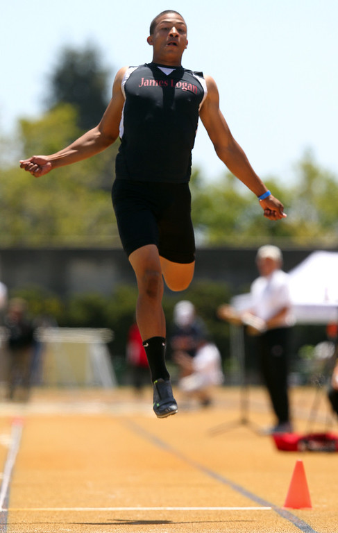 . James Logan\'s Karsten Wethington competes in the boys long jump at the North Coast Section Meet of Champions at Cal\'s Edwards Stadium in Berkeley, Calif., on Saturday, May 25, 2013. Wallace placed first. Wethington placed first. (Anda Chu/Bay Area News Group)