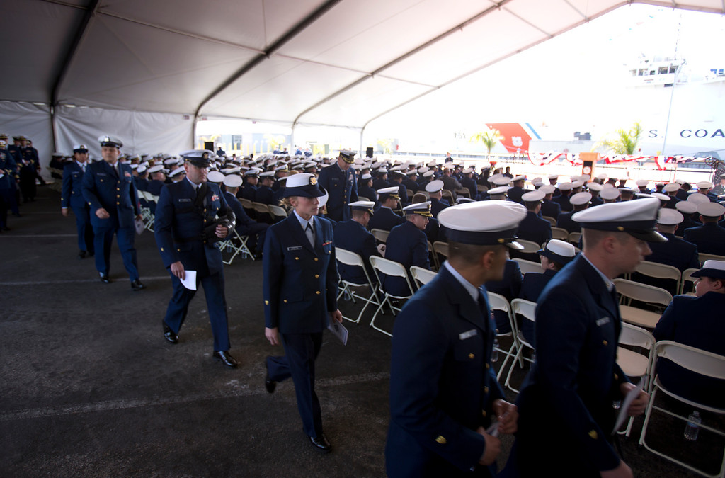 . U.S. Coast Guard personnel arrive for a memorial service for Boatswain\'s Mate Third Class Travis R. Obendorf, Thursday, Jan. 30, 2014 on Coast Guard Island in Alameda, Calif. Obendorf suffered fatal injuries while performing his duties aboard the Coast Guard Cutter Waesche as part of a search and rescue off the coast of the Alaska in November 2013. (D. Ross Cameron/Bay Area News Group)