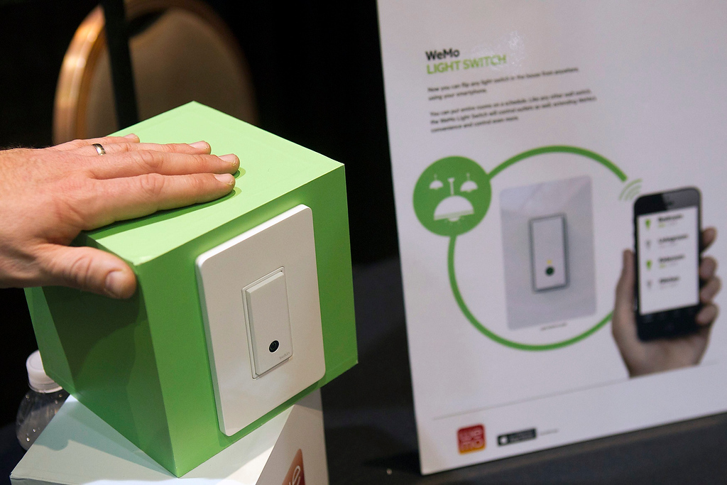 . WeMo light switch by Belkin is displayed at the opening press event of the Consumer Electronics Show (CES) in Las Vegas January 6, 2013. The $49.00 switch, controlled wireless with a smart device, is expected to be in stores this summer. (REUTERS/Steve Marcus)