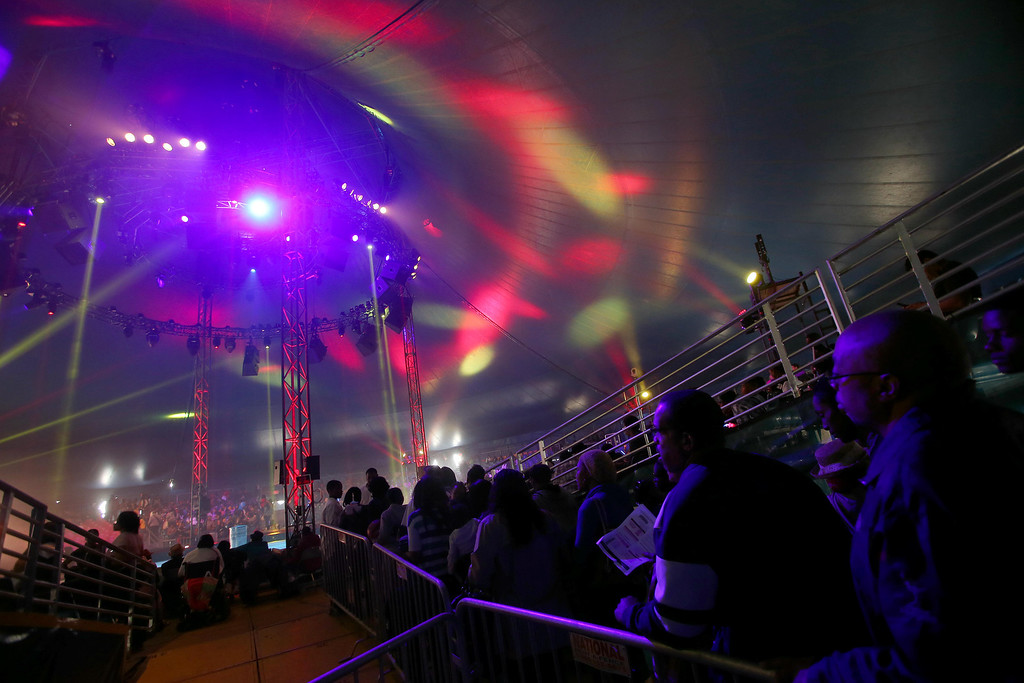 . People make their way in as the UniverSoul Circus performs under the big top on Hegenberger Road in Oakland, Calif., on Friday, April 5, 2013.  (Jane Tyska/Staff)