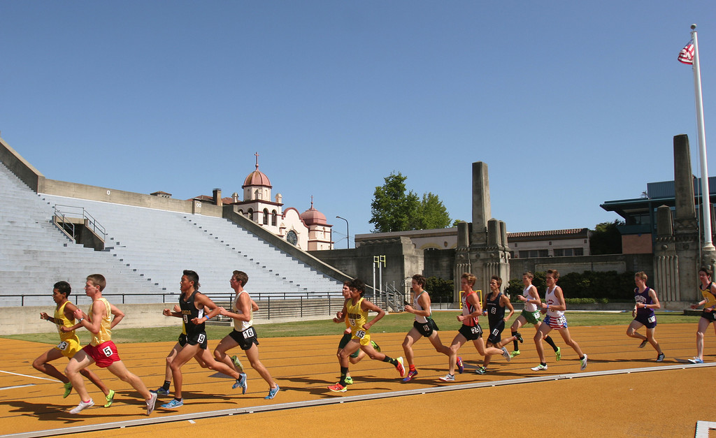 . Athletes compete in the boys 3200 meter final at the North Coast Section Meet of Champions at Cal\'s Edwards Stadium in Berkeley, Calif., on Saturday, May 25, 2013. (Anda Chu/Bay Area News Group)