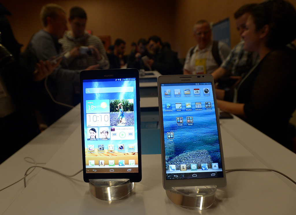. Soon to be released Huawei new smartphones Ascend Mate are presented at the 2013 International Consumer Electronics Show in Las Vegas on January 7, 2013. (JOE KLAMAR/AFP/Getty Images)