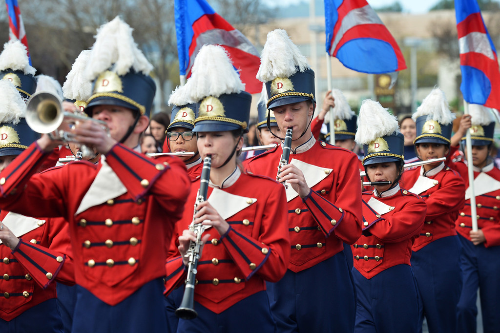 . The Dublin High School band plays as they march down Dublin Boulevard during the Saint Patrick\'s Day Parade in Dublin, Calif., on Saturday, March 16, 2013. (Dan Rosenstrauch/Staff)