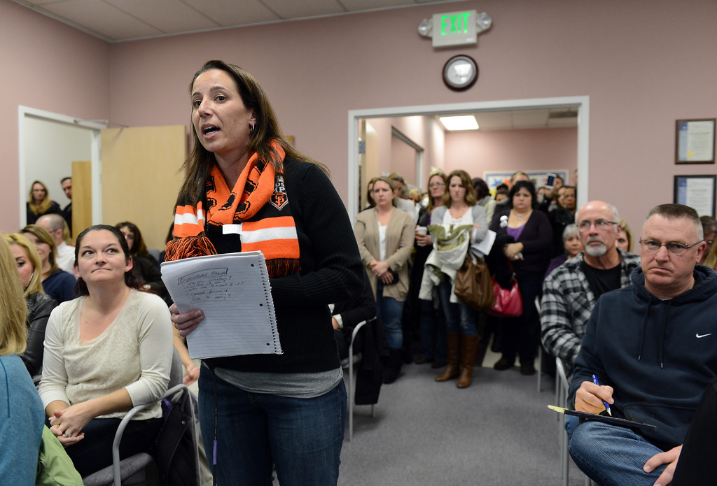 . Jen Schwartz, a parent of a special needs child and a teacher at Pioneer Elementary School voices her concerns to board members  at a Brentwood Union School District school board meeting held in Brentwood, Calif. on Wednesday, Jan. 23, 2013.   (Susan Tripp Pollard/Staff)