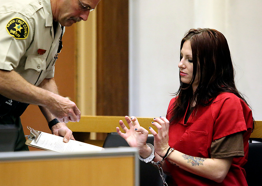 . Santa Cruz County Sheriff\'s Deputy Chuck Beckman fingerprints Alix Tichelman as she appears in Santa Cruz county Superior Court Wednesday to face manslaughter charges. (Shmuel Thaler -- Santa Cruz Sentinel)