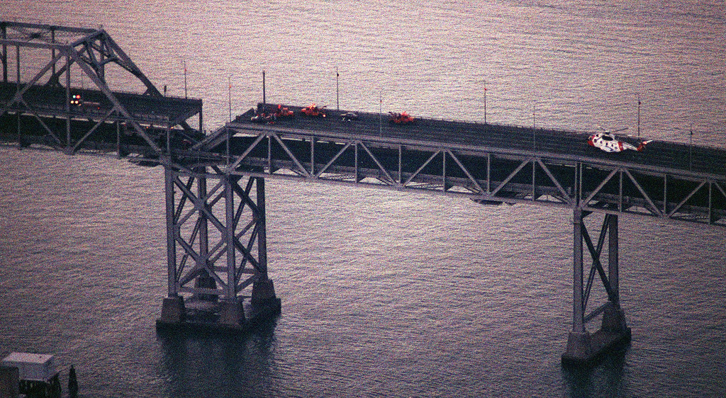 . One section of the upper deck of the Bay Bridge collapsed during the Oct. 17, 1989 earthquake.  (Contra Costa Times/Bob Pepping)