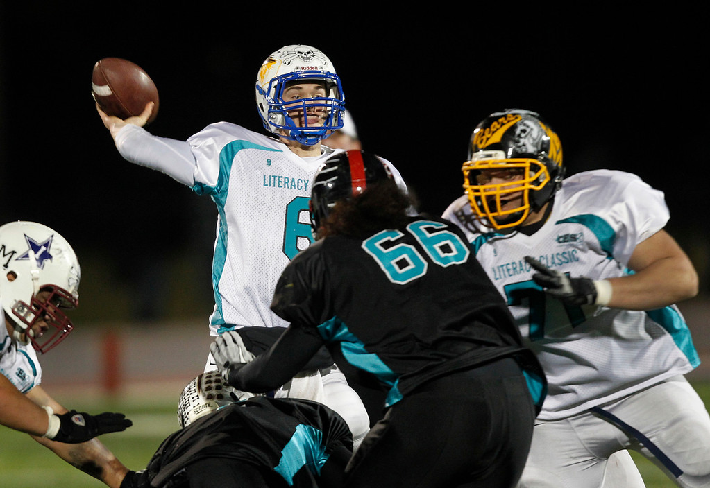 . North quarterback Chris Graham passes against the South in the fourth quarter of the Literacy All-Star high school football game at San Jose City College in San Jose, Calif. on Saturday, Jan. 26, 2013. The North beat the South, 42-7. (Jim Gensheimer/Staff)