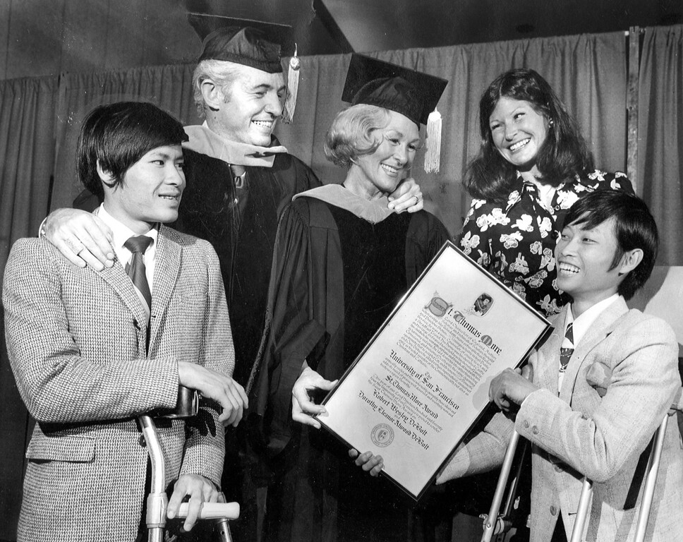 . Piedmont\'s Dorothy and Robert DeBolt received the St. Thomas More Award during the University of San Francisco commencement earlier this week, June 7, 1974. (Bay Area News Group Archives)