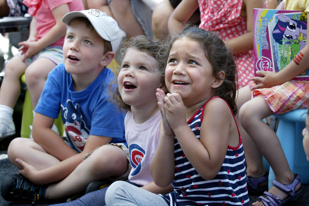 . Children react to a Punch and Judy puppet show during the Independence Day celebration at Jack London Square in Oakland, Calif., on Thursday, July 4, 2013.  (Ray Chavez/Bay Area News Group)