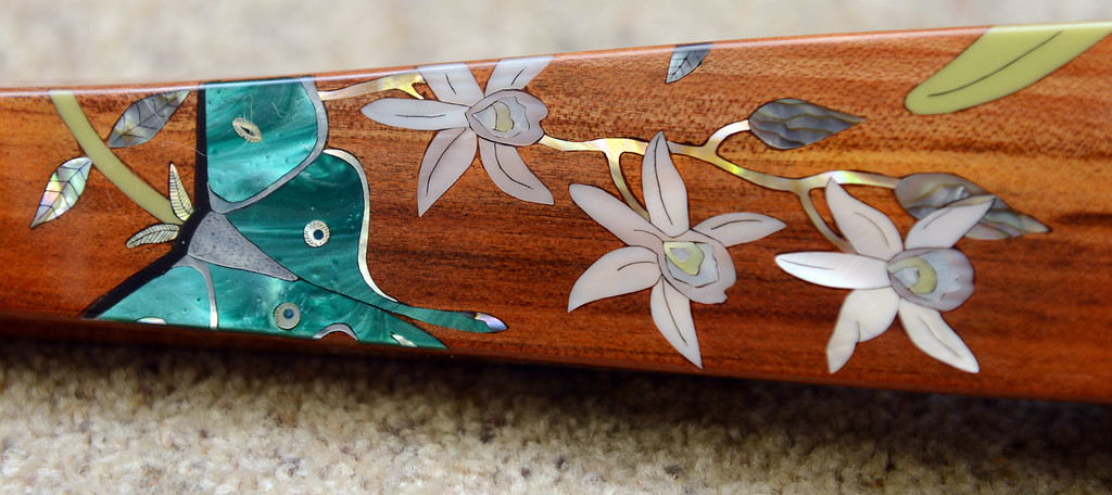 . Inlaid art work by artist Craig Lavin is incorporated in a custom made John Jordan electric violin in Concord, Calif.  on Monday, Jan. 28, 2013.  (Susan Tripp Pollard/Staff)