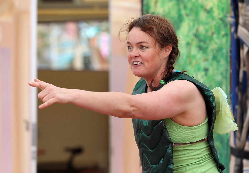 """. Sabrina De Mio performs in San Francisco Shakespeare\'s \""""A Midsummer Night\'s Dream\"""" on the Aesop\'s Playhouse stage at Children\'s Fairyland in Oakland, Calif., on Friday, March 15, 2013.  (Jane Tyska/Staff)"""