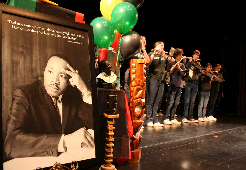 . The El Cerrito High School band plays during Martin Luther King Day activities at the El Cerrito Performing Arts Center on Monday, Jan. 21, 2013, in El Cerrito, Calif.  (Robert Rogers/Staff)