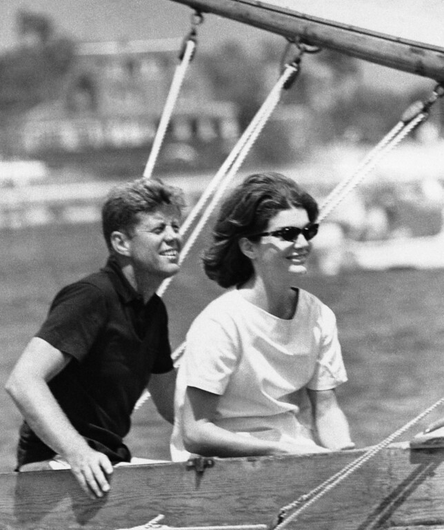 . In this Aug. 7, 1960 file photo, Democratic presidential nominee Sen. John Kennedy and wife Jacqueline sit in their sailboat in Hyannis Port, Mass. (AP Photo)