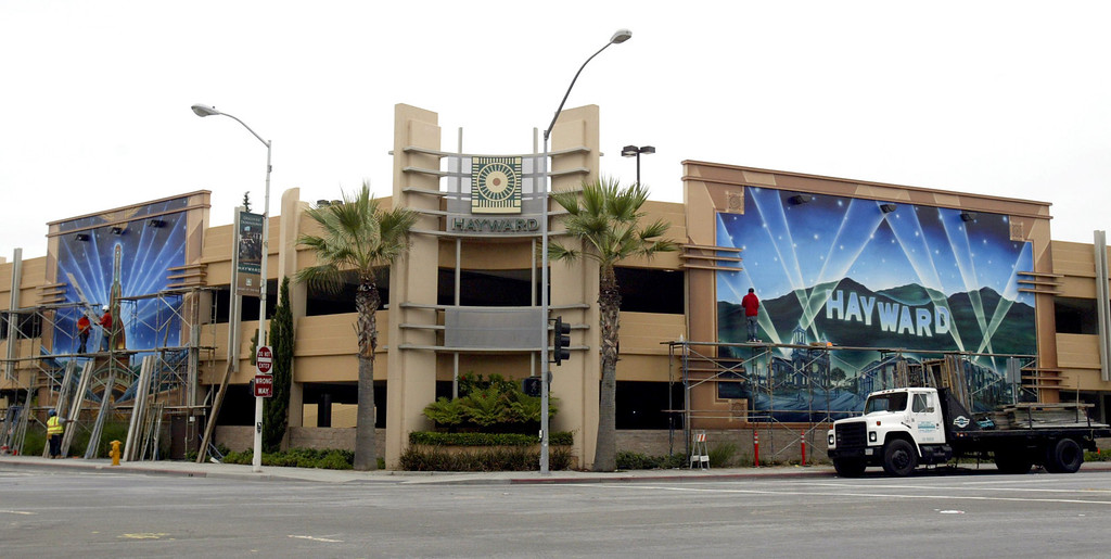 . Two completed murals at a parking structure adjacent to Century Theatres Complex are seen here in downtown Hayward, Calif., on Friday, Aug. 19, 2011. Artist Andrew Kong Knight spent over a year, in his hometown, painting the two art deco theme murals. (Anda Chu/Staff)