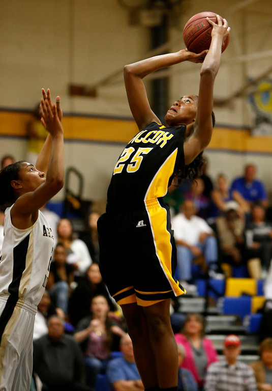 . Wilcox High School\'s D\'Airrien Jackson (25) takes a shot against Archbishop Mitty High School in the second period for the CCS Open Division Girls Basketball semifinals at Oak Grove High School in San Jose, Calif., on Wednesday, Feb. 27, 2013.  (Nhat V. Meyer/Staff)