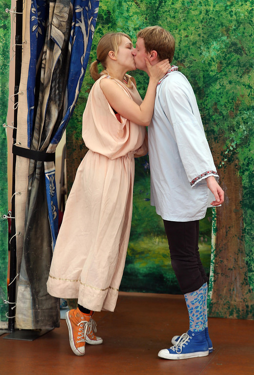 """. Amber Sommerfeld, left, and Brandon Mears, right, perform in San Francisco Shakespeare\'s \""""A Midsummer Night\'s Dream\"""" on the Aesop\'s Playhouse stage at Children\'s Fairyland in Oakland, Calif., on Friday, March 15, 2013. . (Jane Tyska/Staff)"""