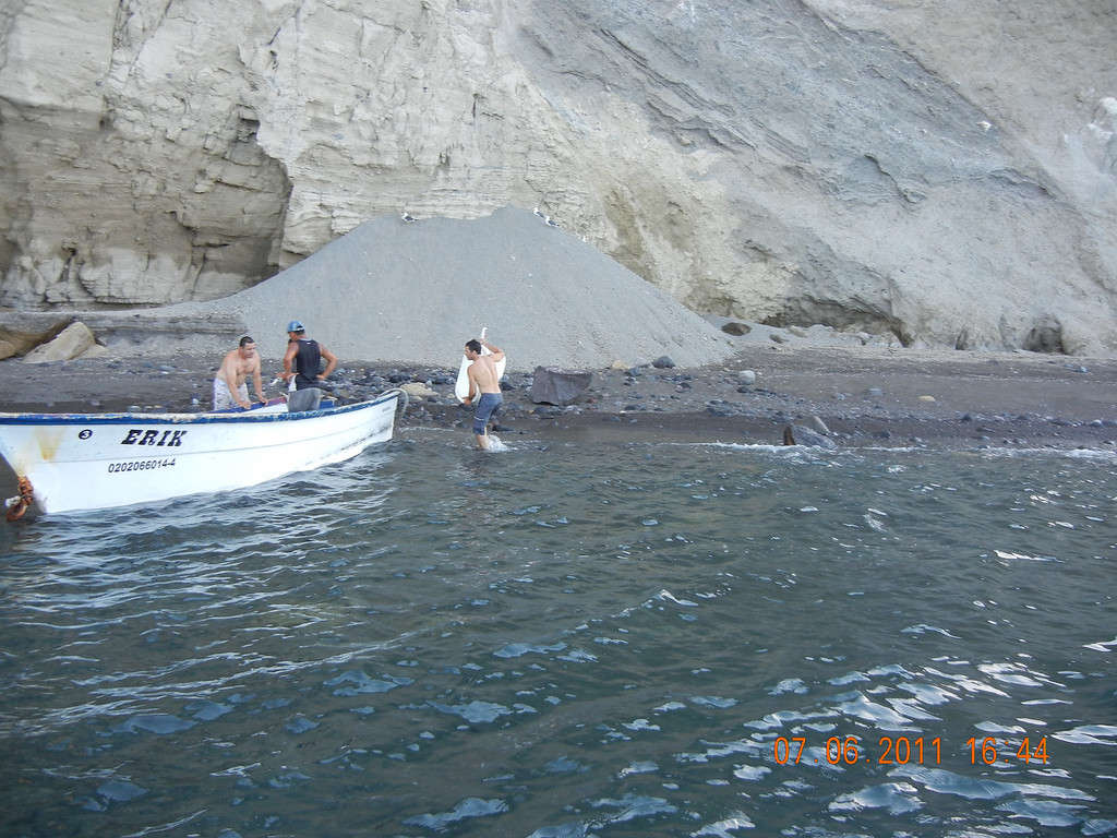 . Shortly after the boat sank in 2011, Joe Jacinto, right, searches for survivors on a nearby island, Isla San Luis, finding a panga from the Erik, one of nine stacked on the back of the fishing vessel.  (Courtesy of Joe Jacinto)