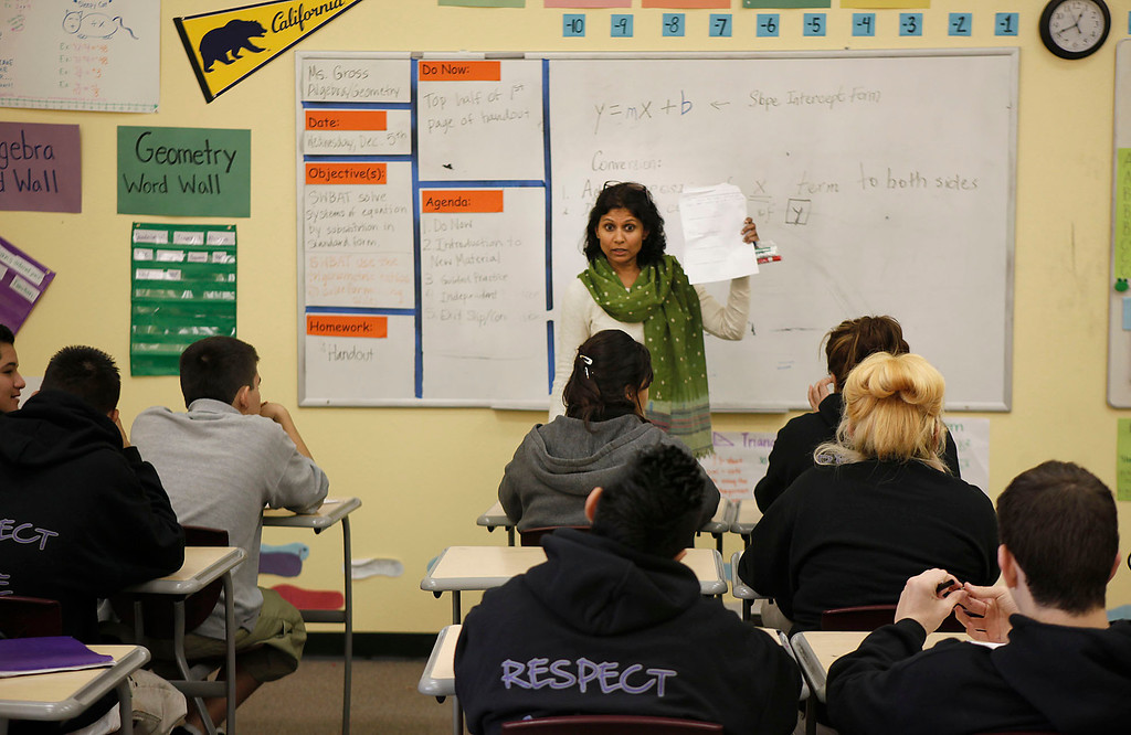 . Nandini Rajan gives instruction during an algebra class at ACE Charter High School in San Jose, Calif. on Wednesday, Dec. 05, 2012.  (Karl Mondon/Staff)