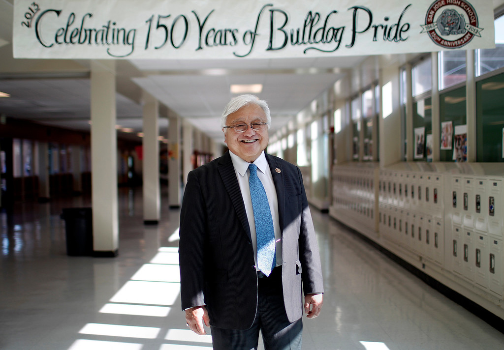 . Portrait of alumni Congressman Mike Honda, class of 1959, in side the A hallway at San Jose High, in San Jose on Monday,  May 13, 2013. (Josie Lepe/Bay Area News Group)